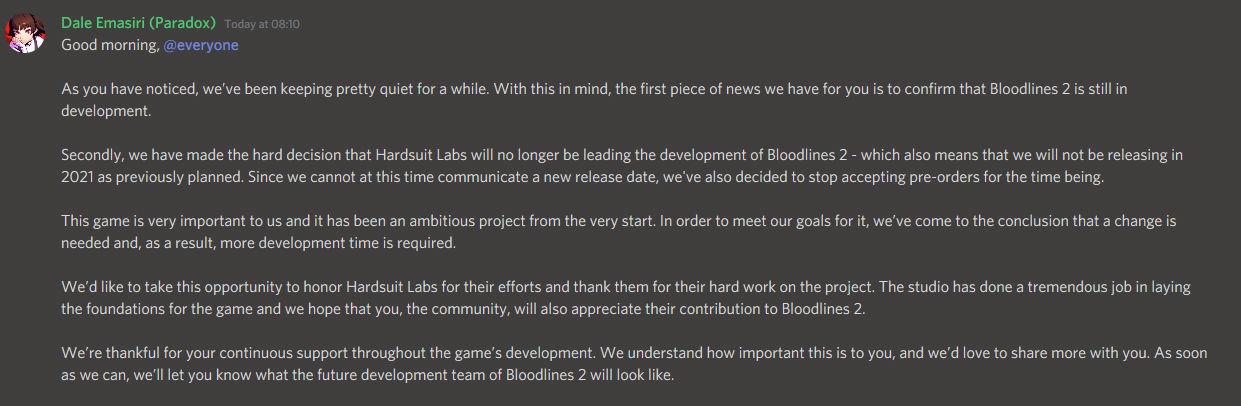 Vampire the Masquerade: Bloodlines 2 Erteleme Duyurusu